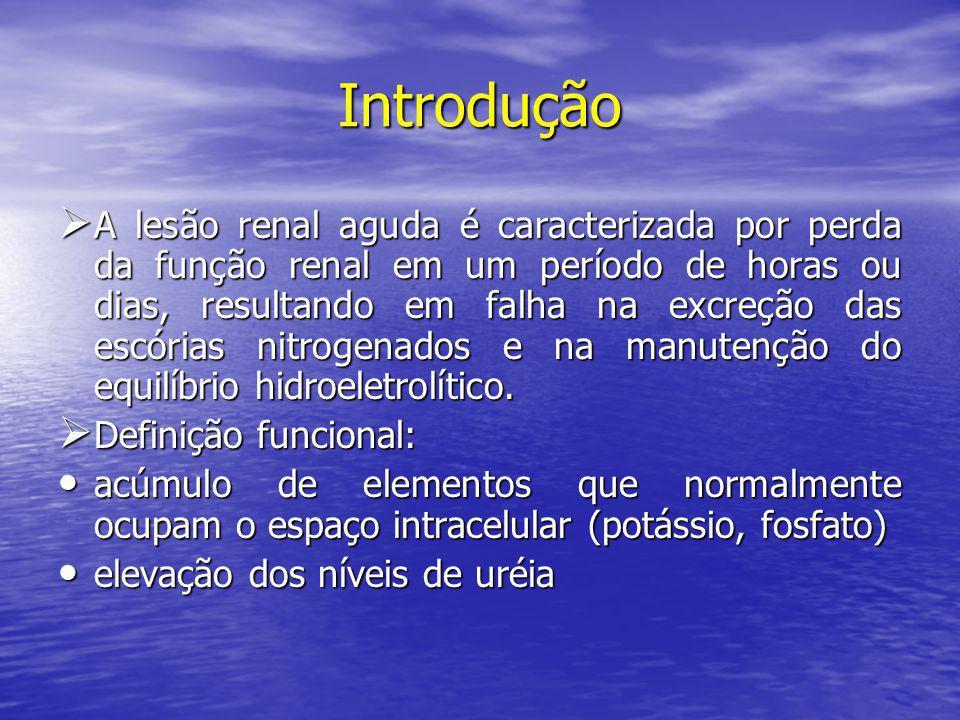 Introdução  A lesão renal aguda é caracterizada por perda da função renal em um período de horas ou dias, resultando em falha na excreção das escória