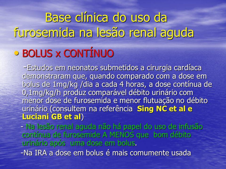 Base clínica do uso da furosemida na lesão renal aguda Base clínica do uso da furosemida na lesão renal aguda • BOLUS x CONTÍNUO - Estudos em neonatos