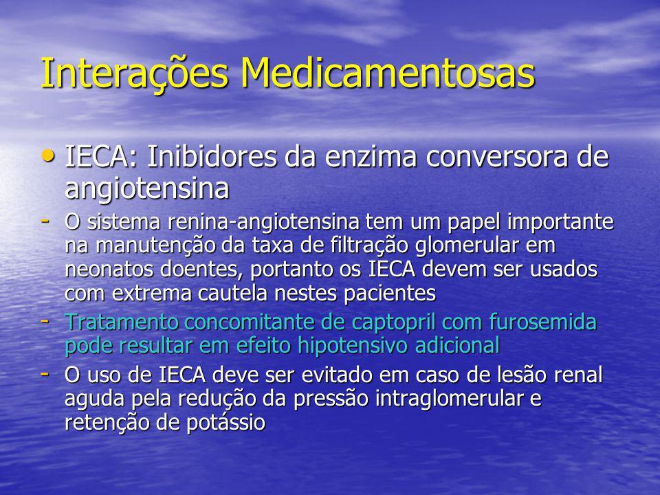 Interações Medicamentosas • IECA: Inibidores da enzima conversora de angiotensina - O sistema renina-angiotensina tem um papel importante na manutençã