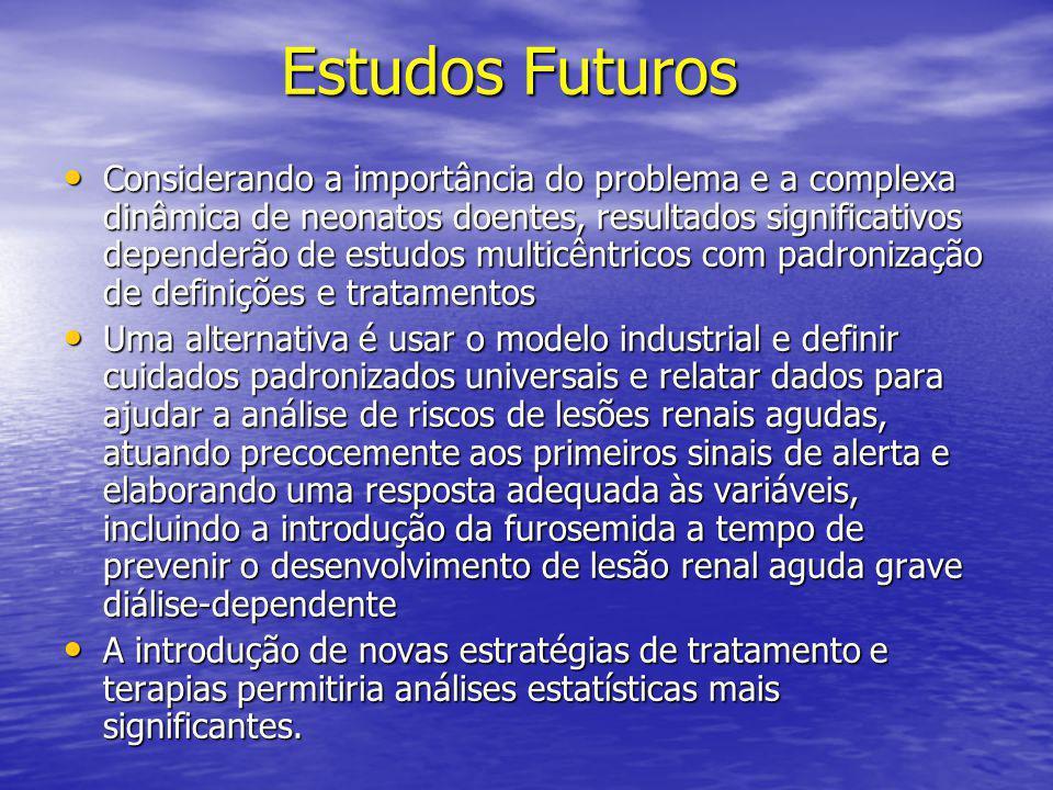 Estudos Futuros Estudos Futuros • Considerando a importância do problema e a complexa dinâmica de neonatos doentes, resultados significativos depender