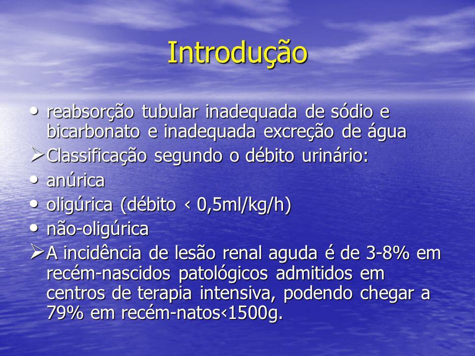 Introdução • reabsorção tubular inadequada de sódio e bicarbonato e inadequada excreção de água  Classificação segundo o débito urinário: • anúrica •