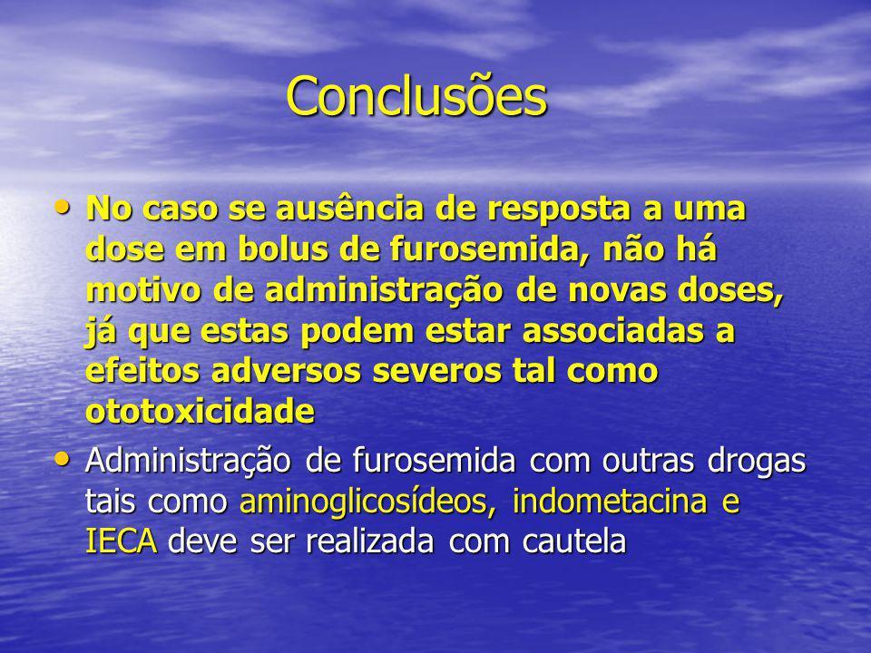 Conclusões Conclusões • No caso se ausência de resposta a uma dose em bolus de furosemida, não há motivo de administração de novas doses, já que estas