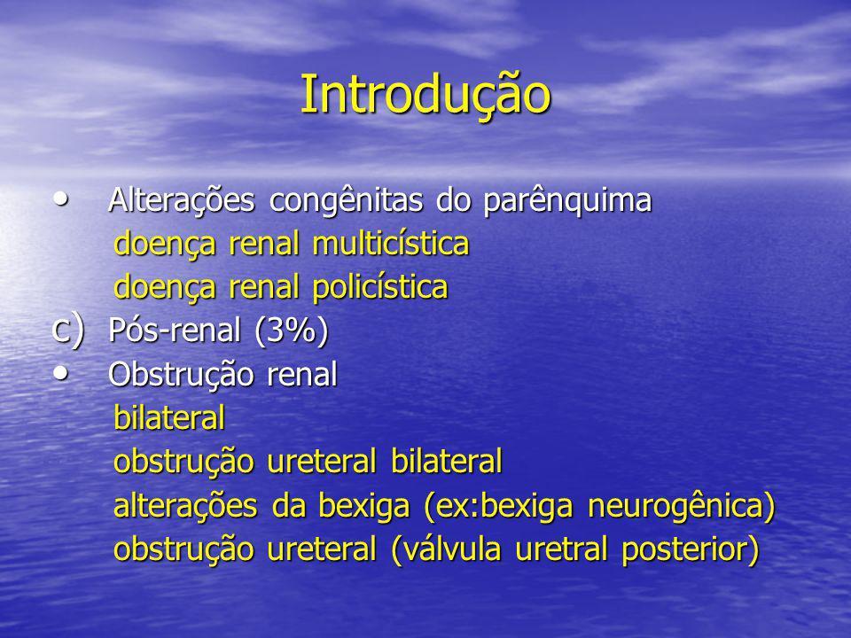Introdução • Alterações congênitas do parênquima doença renal multicística doença renal multicística doença renal policística doença renal policística