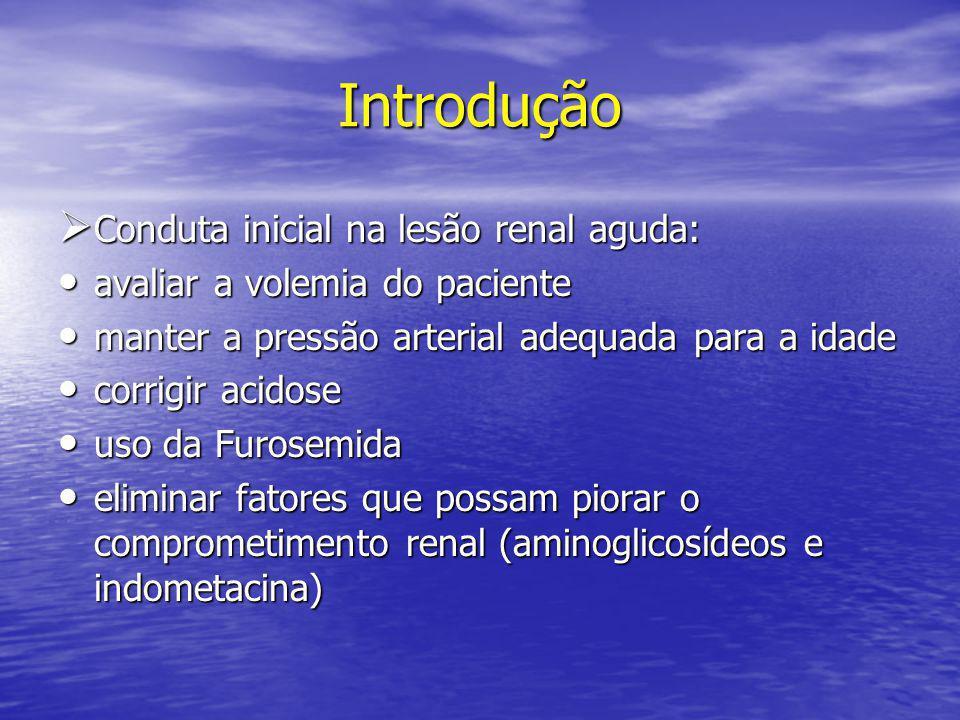 Introdução  Conduta inicial na lesão renal aguda: • avaliar a volemia do paciente • manter a pressão arterial adequada para a idade • corrigir acidos