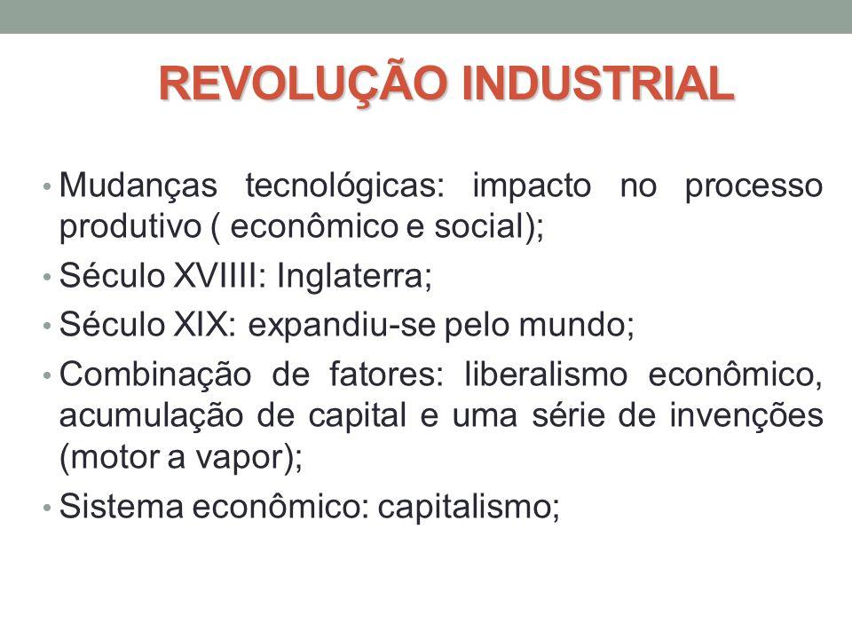 REVOLUÇÃO INDUSTRIAL • Mudanças tecnológicas: impacto no processo produtivo ( econômico e social); • Século XVIIII: Inglaterra; • Século XIX: expandiu