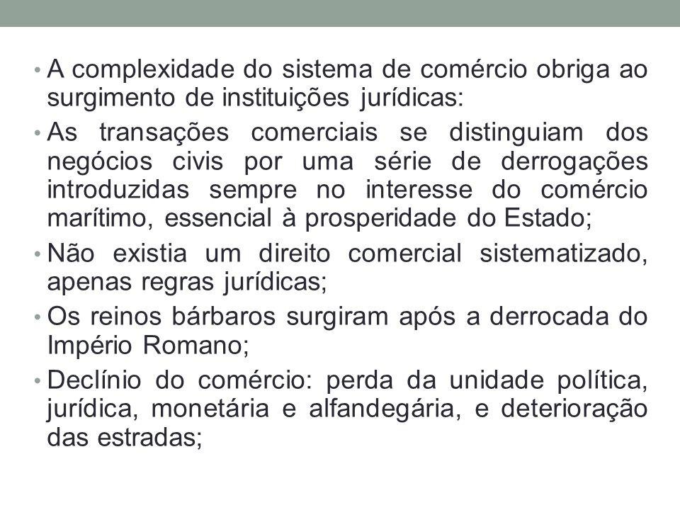 • A complexidade do sistema de comércio obriga ao surgimento de instituições jurídicas: • As transações comerciais se distinguiam dos negócios civis p