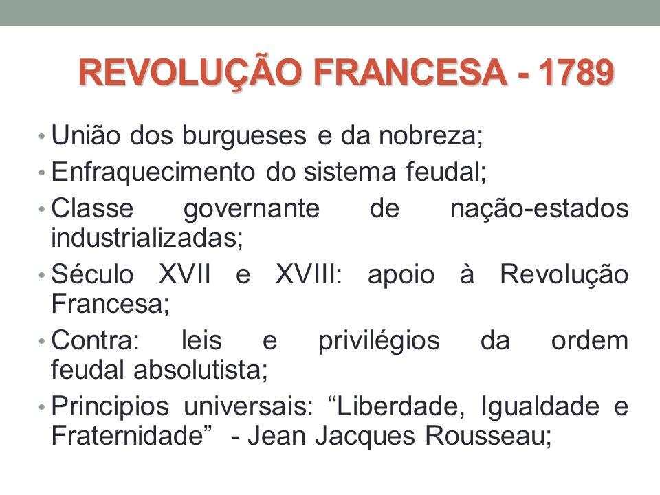 REVOLUÇÃO FRANCESA - 1789 • União dos burgueses e da nobreza; • Enfraquecimento do sistema feudal; • Classe governante de nação-estados industrializad