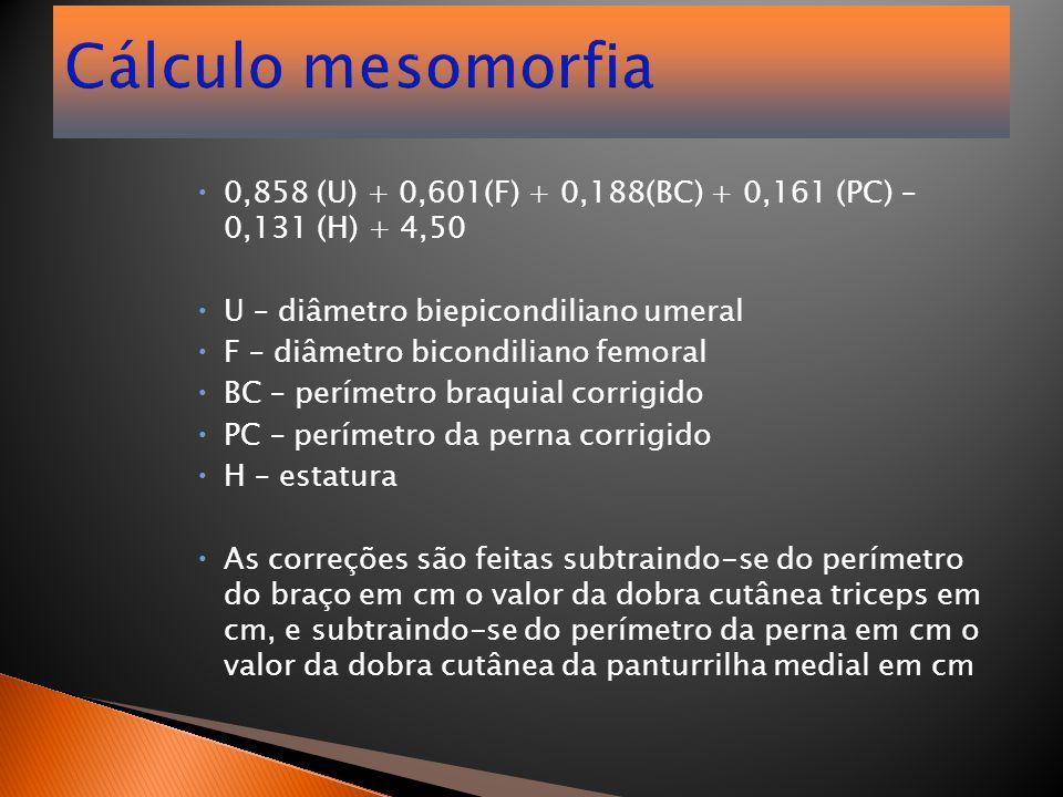 Cálculo mesomorfia  0,858 (U) + 0,601(F) + 0,188(BC) + 0,161 (PC) – 0,131 (H) + 4,50  U – diâmetro biepicondiliano umeral  F – diâmetro bicondilian