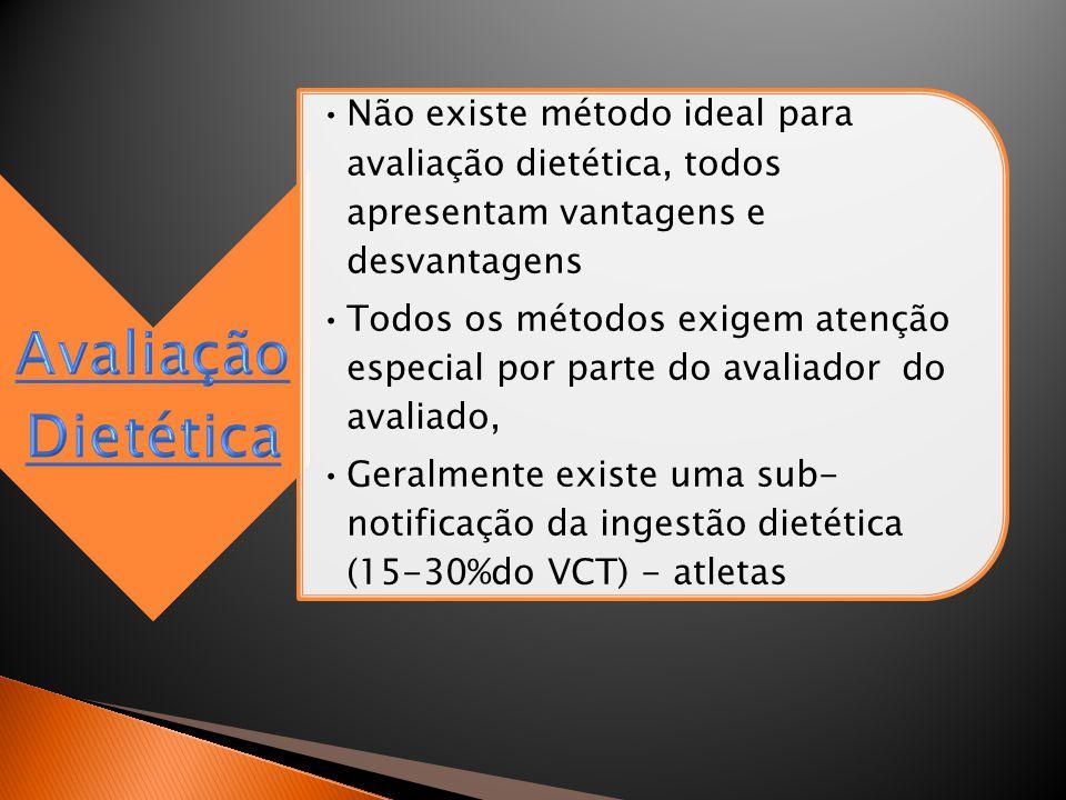 •Não existe método ideal para avaliação dietética, todos apresentam vantagens e desvantagens •Todos os métodos exigem atenção especial por parte do av