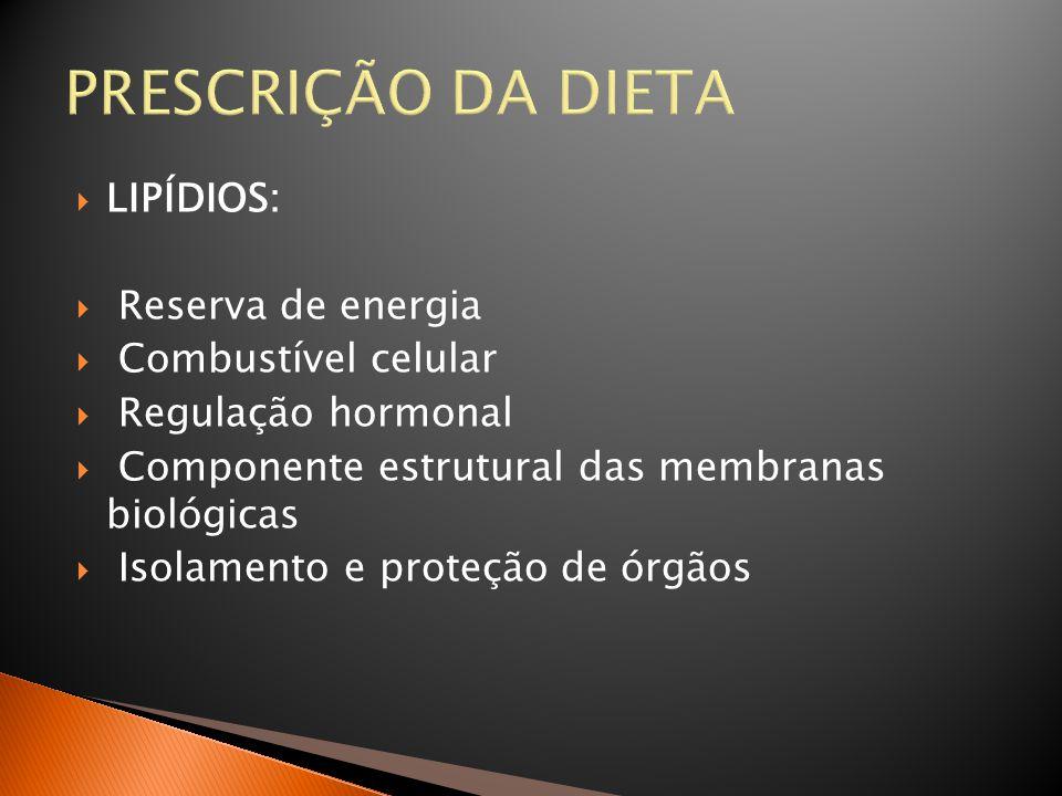 PRESCRIÇÃO DA DIETA  LIPÍDIOS:  Reserva de energia  Combustível celular  Regulação hormonal  Componente estrutural das membranas biológicas  Iso