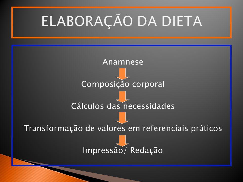 ELABORAÇÃO DA DIETA Anamnese Composição corporal Cálculos das necessidades Transformação de valores em referenciais práticos Impressão/ Redação