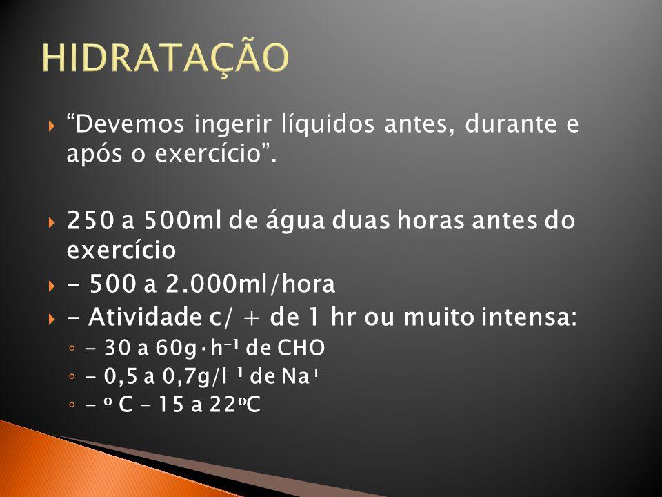 """HIDRATAÇÃO  """"Devemos ingerir líquidos antes, durante e após o exercício"""".  250 a 500ml de água duas horas antes do exercício  - 500 a 2.000ml/hora"""