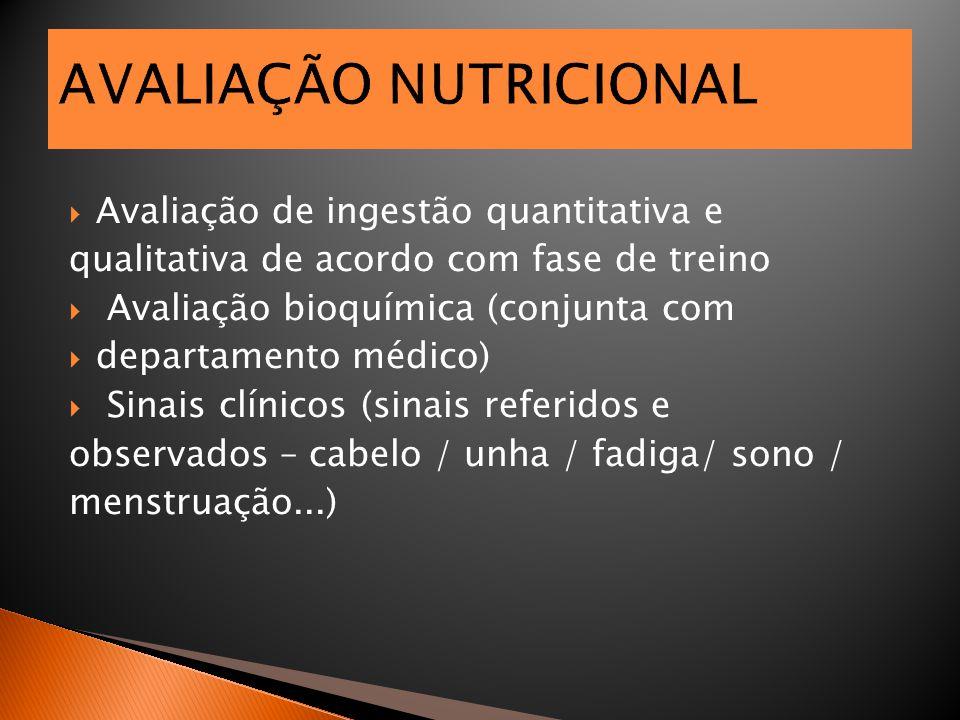 AVALIAÇÃO NUTRICIONAL  Avaliação de ingestão quantitativa e qualitativa de acordo com fase de treino  Avaliação bioquímica (conjunta com  departame