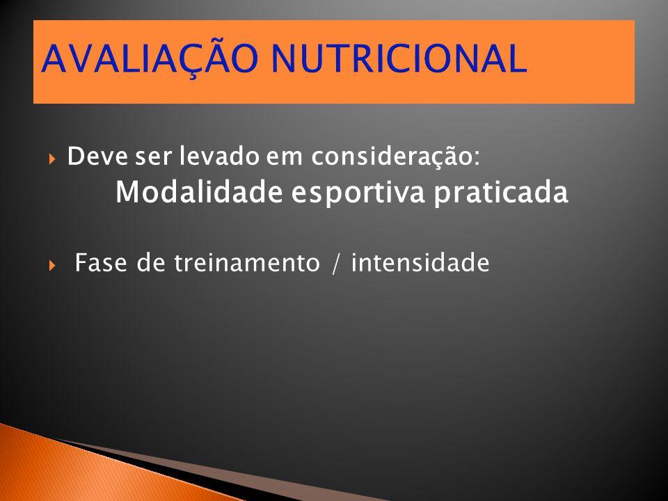  Deve ser levado em consideração: Modalidade esportiva praticada  Fase de treinamento / intensidade AVALIAÇÃO NUTRICIONAL
