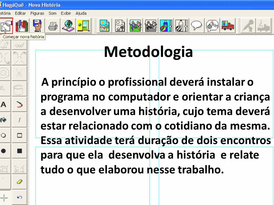 Metodologia A princípio o profissional deverá instalar o programa no computador e orientar a criança a desenvolver uma história, cujo tema deverá esta