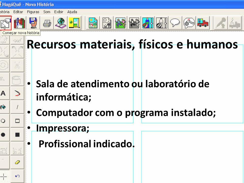 Recursos materiais, físicos e humanos • Sala de atendimento ou laboratório de informática; • Computador com o programa instalado; • Impressora; • Prof