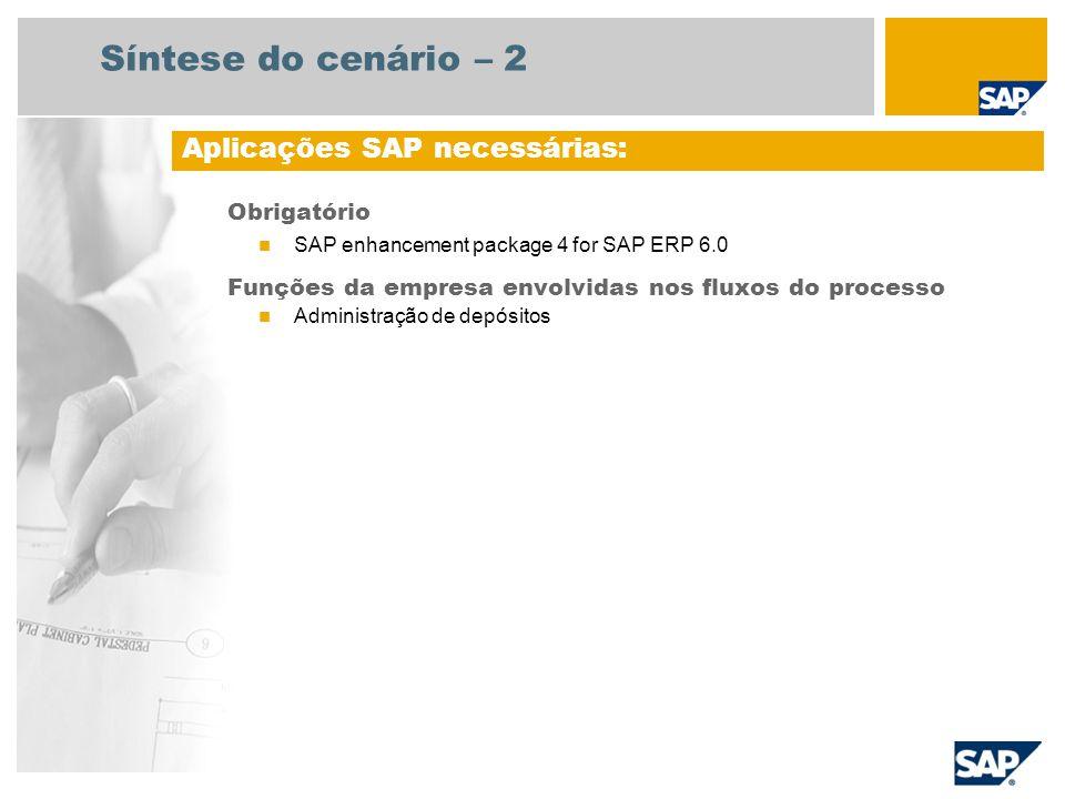 Obrigatório  SAP enhancement package 4 for SAP ERP 6.0 Funções da empresa envolvidas nos fluxos do processo  Administração de depósitos Aplicações S