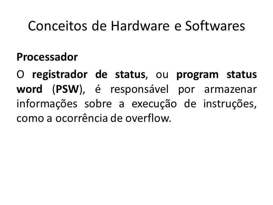 Conceitos de Hardware e Softwares Processador O registrador de status, ou program status word (PSW), é responsável por armazenar informações sobre a e