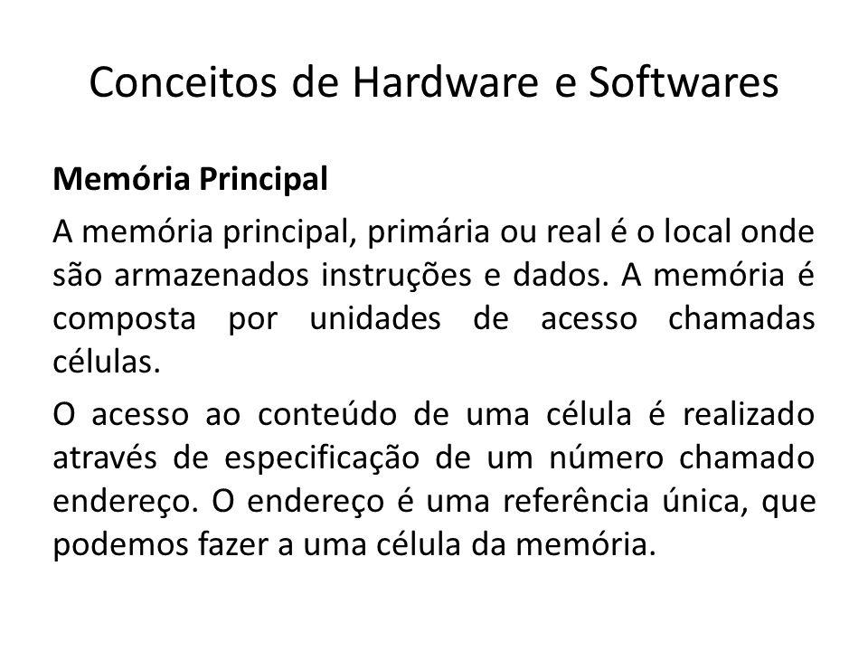 Conceitos de Hardware e Softwares Memória Principal A memória principal, primária ou real é o local onde são armazenados instruções e dados. A memória