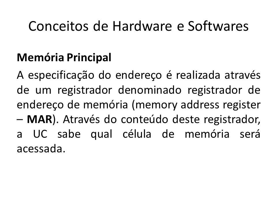 Conceitos de Hardware e Softwares Memória Principal A especificação do endereço é realizada através de um registrador denominado registrador de endere