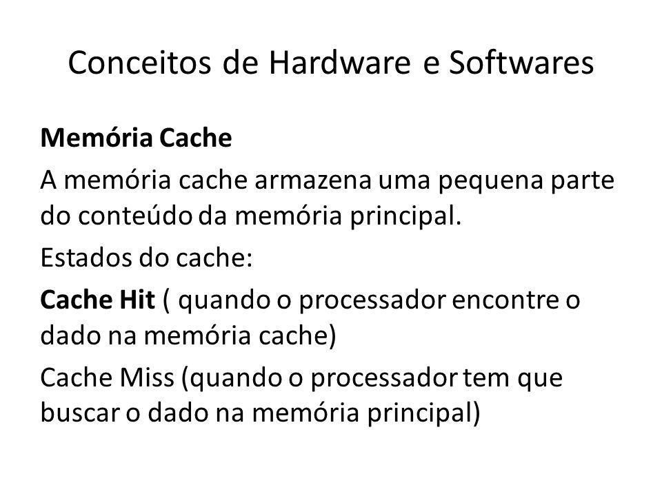 Conceitos de Hardware e Softwares Memória Cache A memória cache armazena uma pequena parte do conteúdo da memória principal. Estados do cache: Cache H
