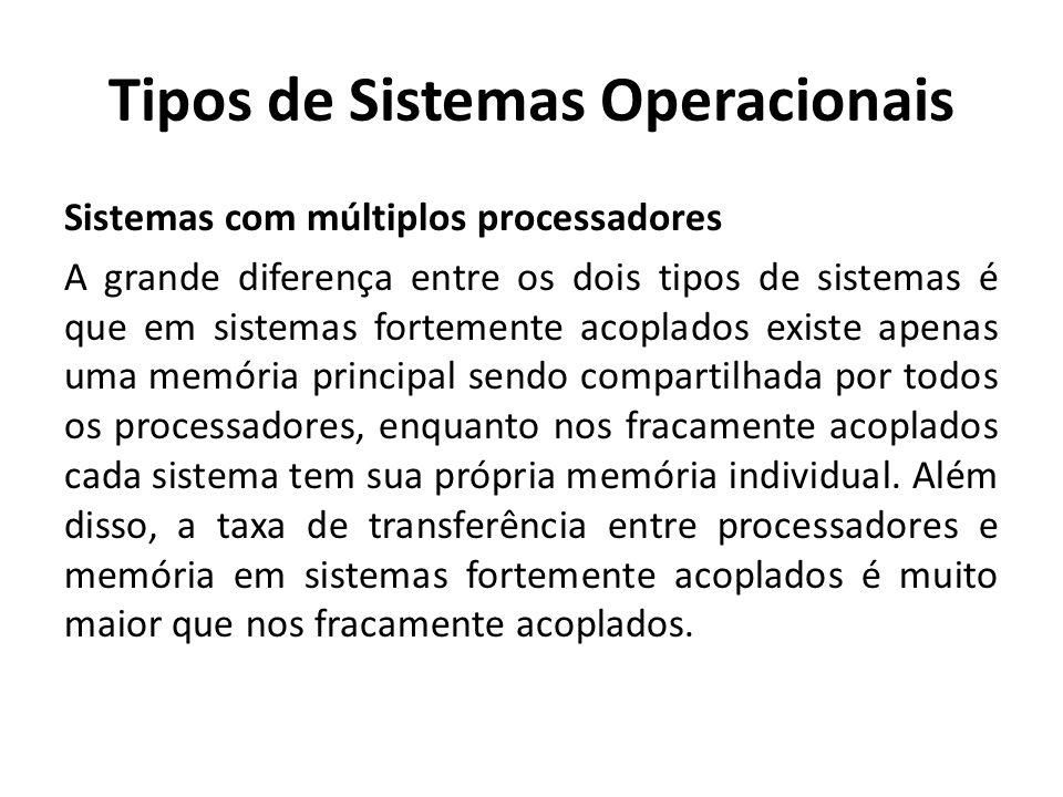 Tipos de Sistemas Operacionais Sistemas com múltiplos processadores A grande diferença entre os dois tipos de sistemas é que em sistemas fortemente ac