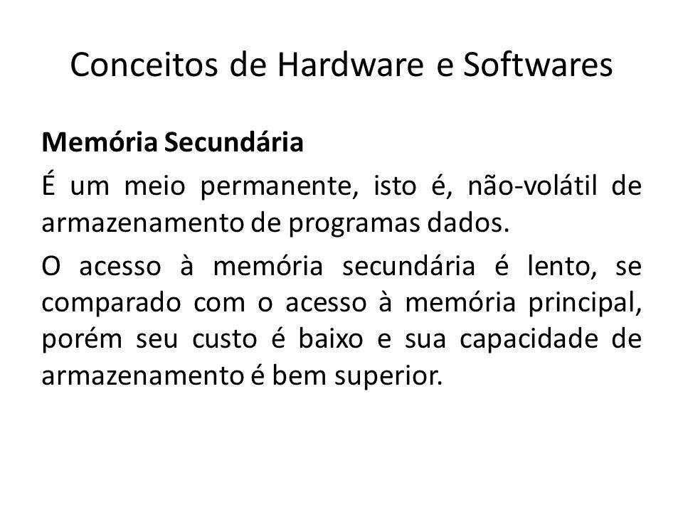 Conceitos de Hardware e Softwares Memória Secundária É um meio permanente, isto é, não-volátil de armazenamento de programas dados. O acesso à memória