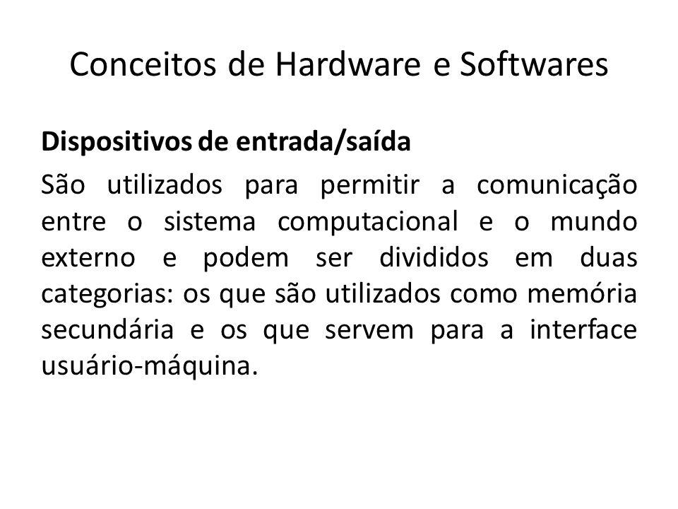 Conceitos de Hardware e Softwares Dispositivos de entrada/saída São utilizados para permitir a comunicação entre o sistema computacional e o mundo ext
