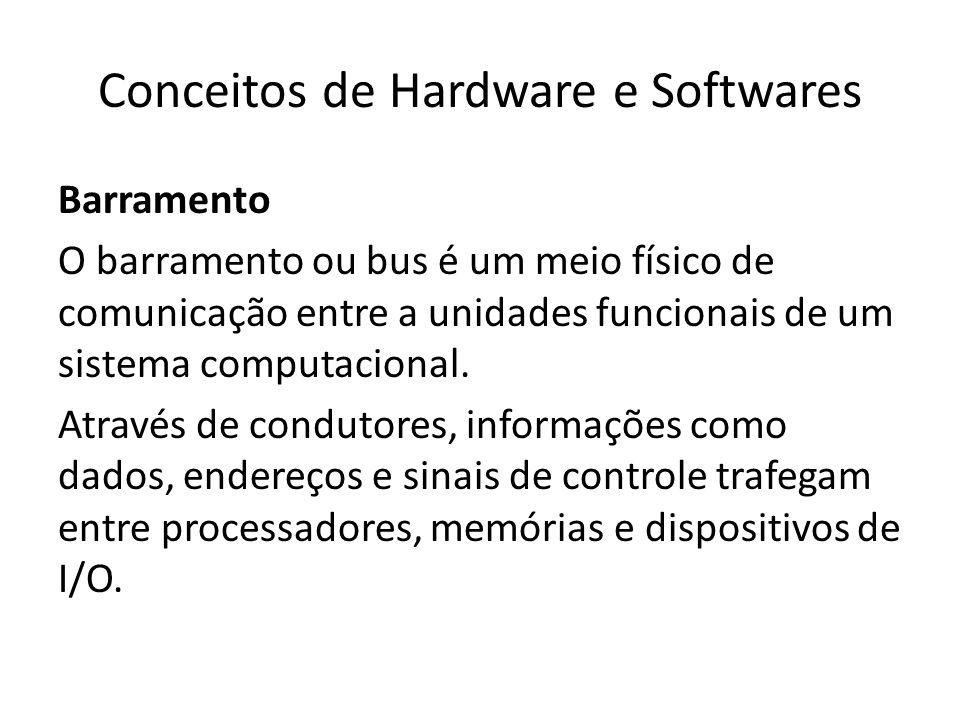 Conceitos de Hardware e Softwares Barramento O barramento ou bus é um meio físico de comunicação entre a unidades funcionais de um sistema computacion