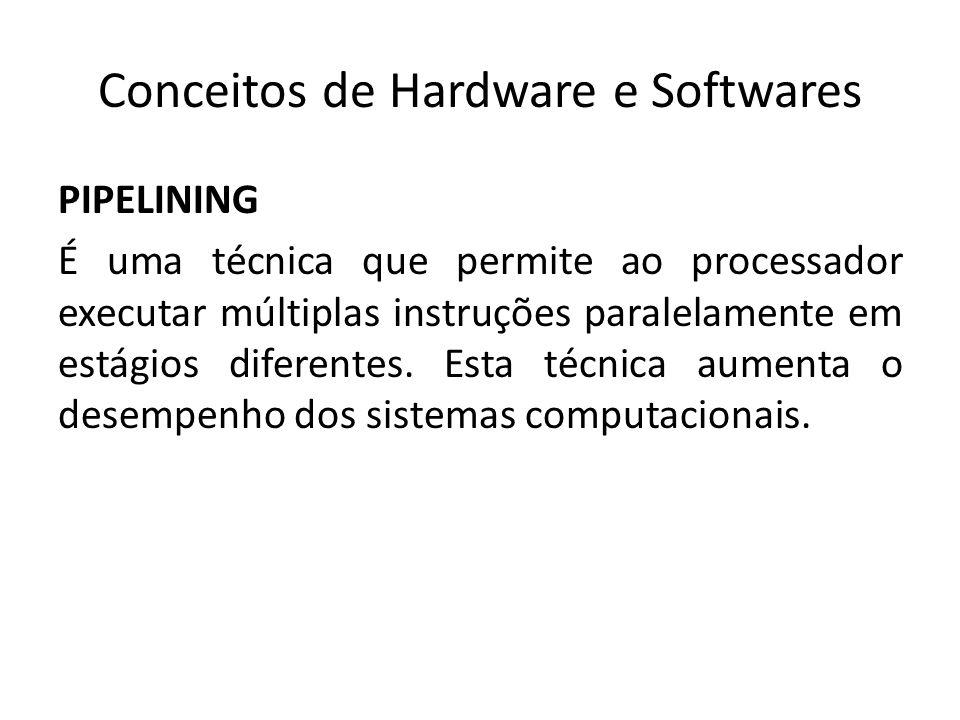 Conceitos de Hardware e Softwares PIPELINING É uma técnica que permite ao processador executar múltiplas instruções paralelamente em estágios diferent