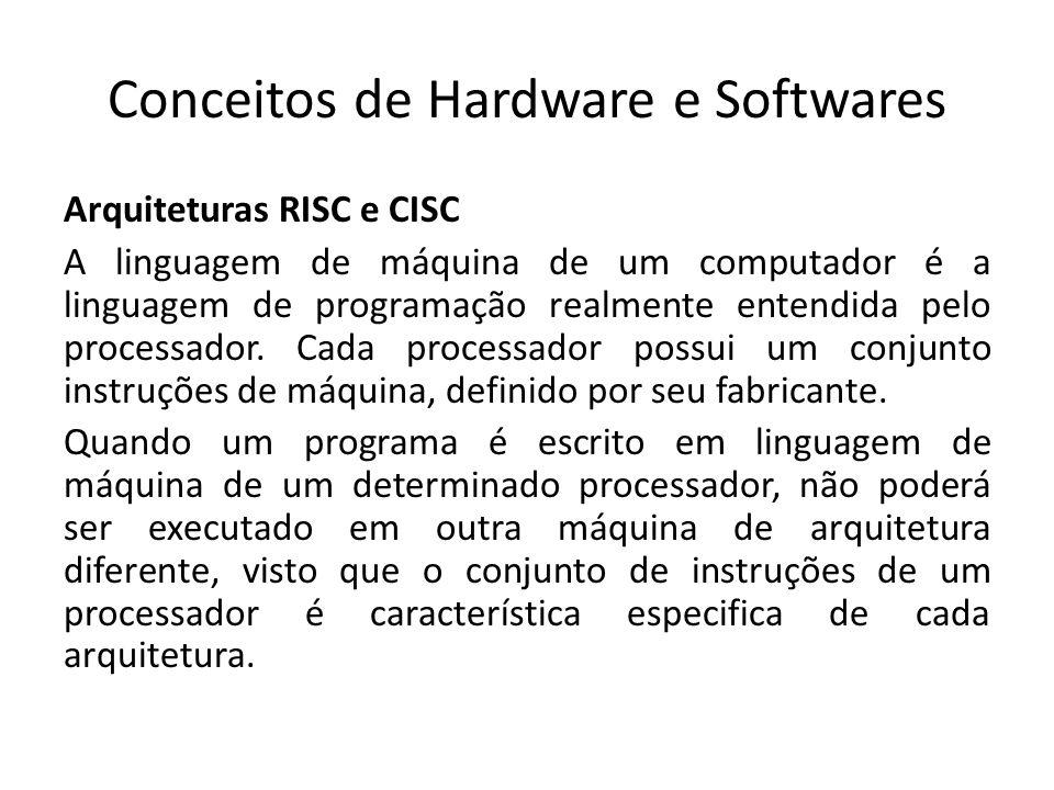 Conceitos de Hardware e Softwares Arquiteturas RISC e CISC A linguagem de máquina de um computador é a linguagem de programação realmente entendida pe