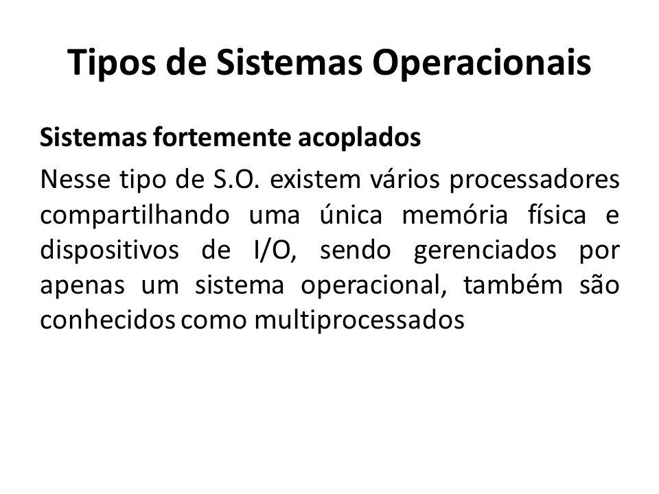 Tipos de Sistemas Operacionais Sistemas fortemente acoplados Os sistemas fortemente acoplados podem ser divididos em: SMP (Symmetric Multiprocessors) Tempo uniforme de acesso à memória principal pelos processadores.