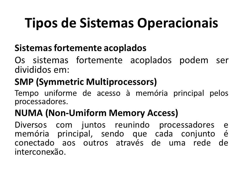 Tipos de Sistemas Operacionais Sistemas fortemente acoplados Os sistemas fortemente acoplados podem ser divididos em: SMP (Symmetric Multiprocessors)