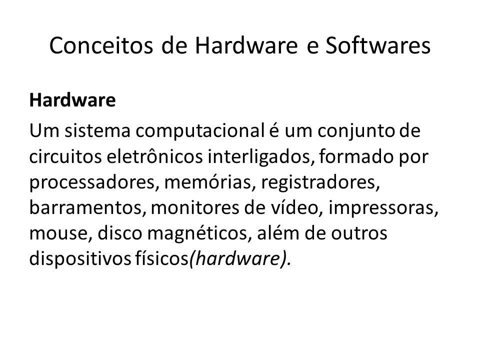 Conceitos de Hardware e Softwares Hardware Um sistema computacional é um conjunto de circuitos eletrônicos interligados, formado por processadores, me