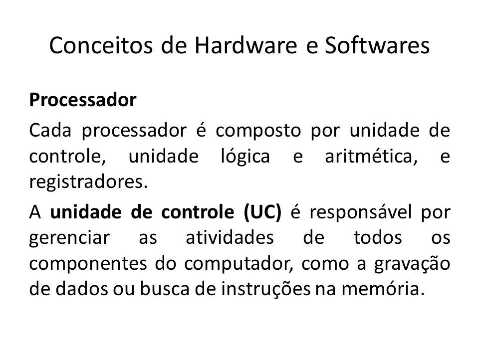 Conceitos de Hardware e Softwares Processador A unidade lógica e aritmética (ULA), é responsável pela realização de operações lógicas (testes e comparações) e aritméticas (soma e subtrações).