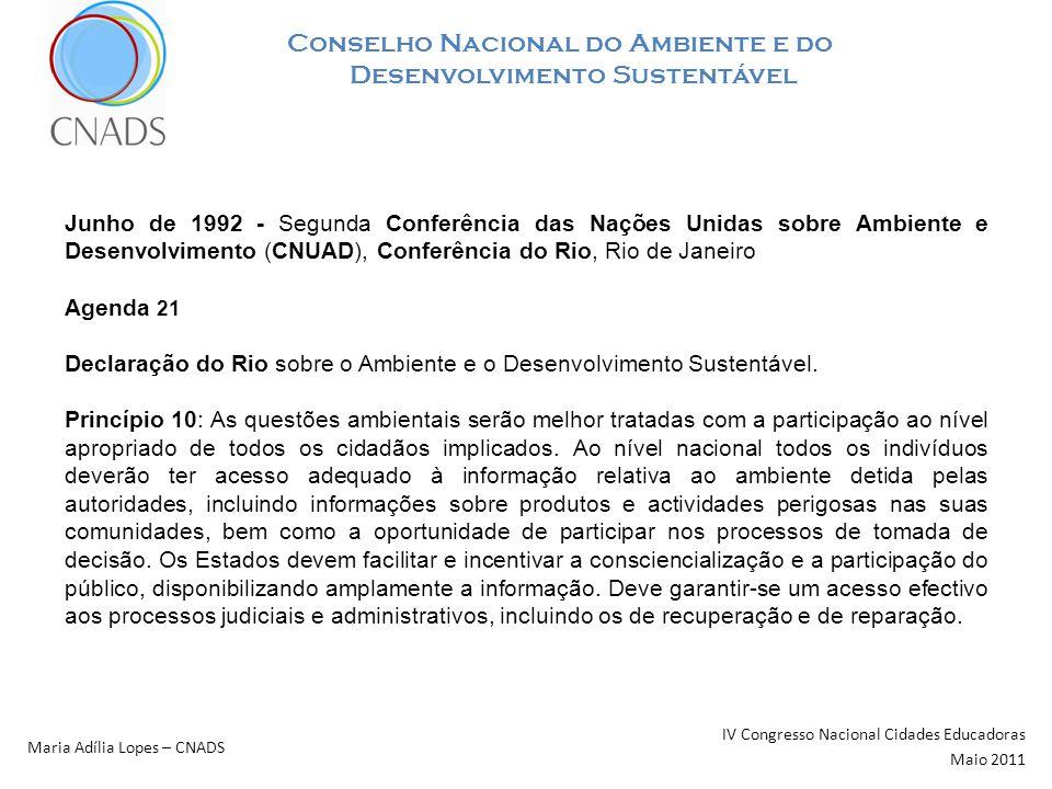 Conselho Nacional do Ambiente e do Desenvolvimento Sustentável IV Congresso Nacional Cidades Educadoras Maio 2011 Maria Adília Lopes – CNADS Junho de 1992 - Segunda Conferência das Nações Unidas sobre Ambiente e Desenvolvimento (CNUAD), Conferência do Rio, Rio de Janeiro Agenda 21 Declaração do Rio sobre o Ambiente e o Desenvolvimento Sustentável.