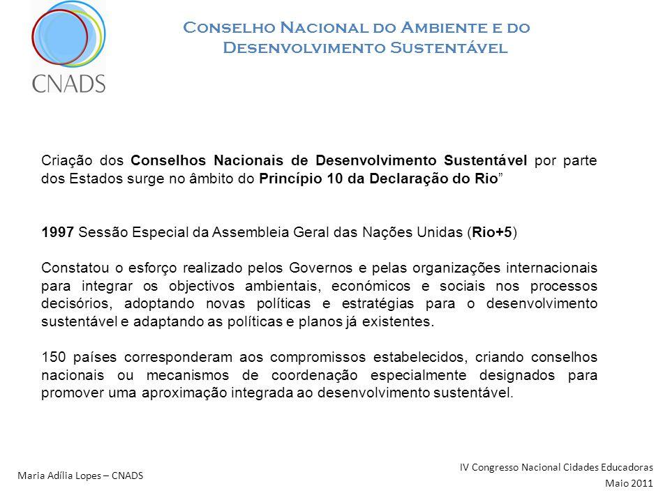 Conselho Nacional do Ambiente e do Desenvolvimento Sustentável IV Congresso Nacional Cidades Educadoras Maio 2011 Maria Adília Lopes – CNADS O Conselho Nacional do Ambiente e do Desenvolvimento Sustentável (CNADS) foi criado em 1997, pelo Decreto-Lei n.º 221/97, de 20 de Agosto Iniciou o seu exercício em Abril de 1998.
