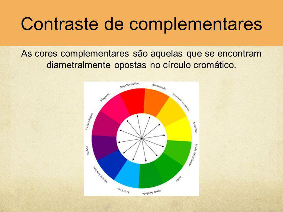 As cores complementares são aquelas que se encontram diametralmente opostas no círculo cromático. Contraste de complementares