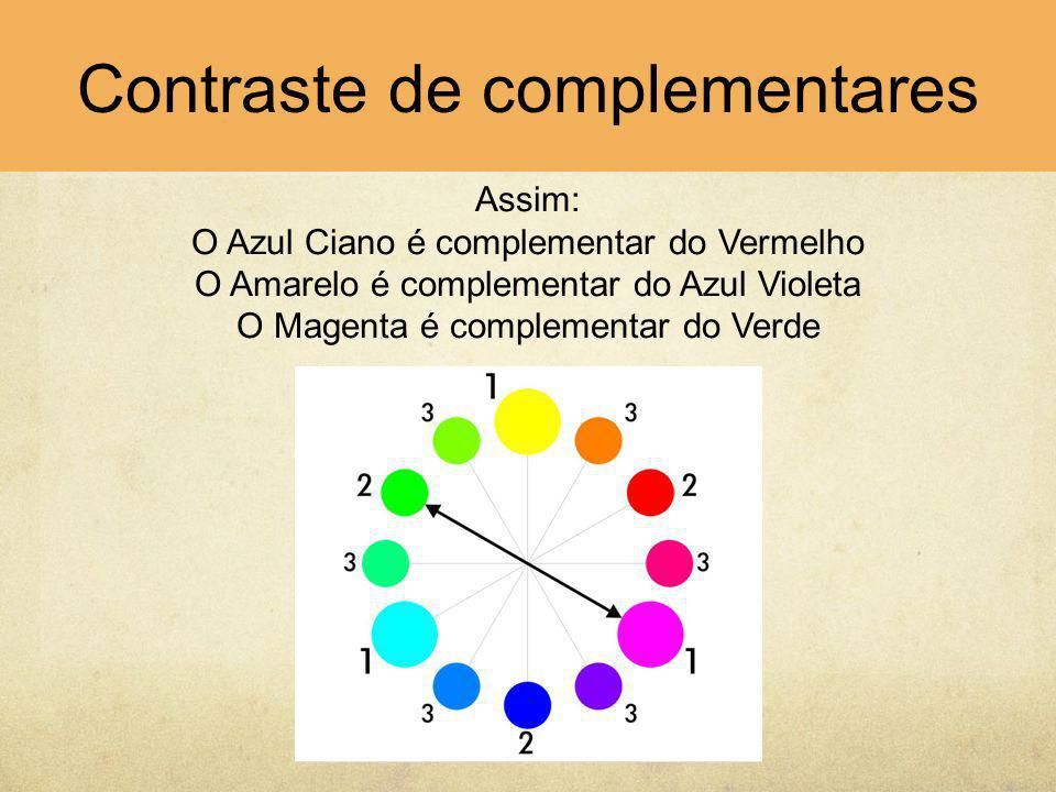 Assim: O Azul Ciano é complementar do Vermelho O Amarelo é complementar do Azul Violeta O Magenta é complementar do Verde Contraste de complementares