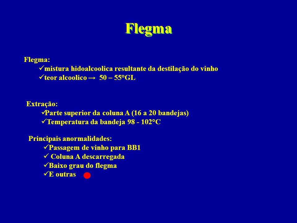 Flegma Flegma:  mistura hidoalcoolica resultante da destilação do vinho  teor alcoolico → 50 – 55°GL Extração:  Parte superior da coluna A (16 a 20
