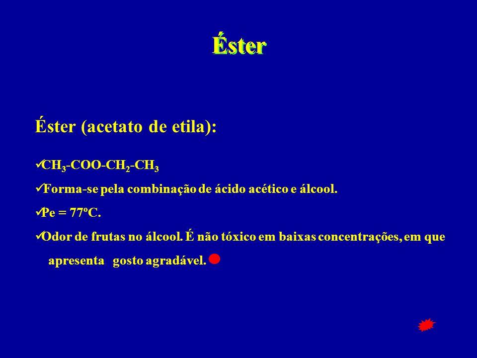 Éster Éster (acetato de etila):  CH 3 -COO-CH 2 -CH 3  Forma-se pela combinação de ácido acético e álcool.  Pe = 77ºC.  Odor de frutas no álcool.