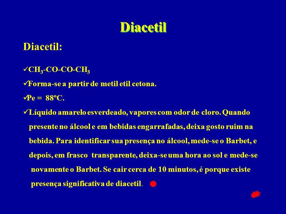 Diacetil Diacetil:  CH 3 -CO-CO-CH 3  Forma-se a partir de metil etil cetona.  Pe = 88ºC.  Líquido amarelo esverdeado, vapores com odor de cloro.
