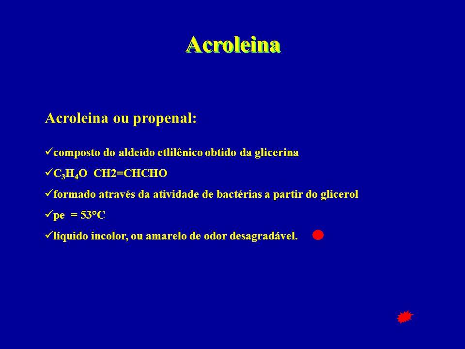 Acroleina Acroleina ou propenal:  composto do aldeído etlilênico obtido da glicerina  C 3 H 4 O CH2=CHCHO  formado através da atividade de bactéria