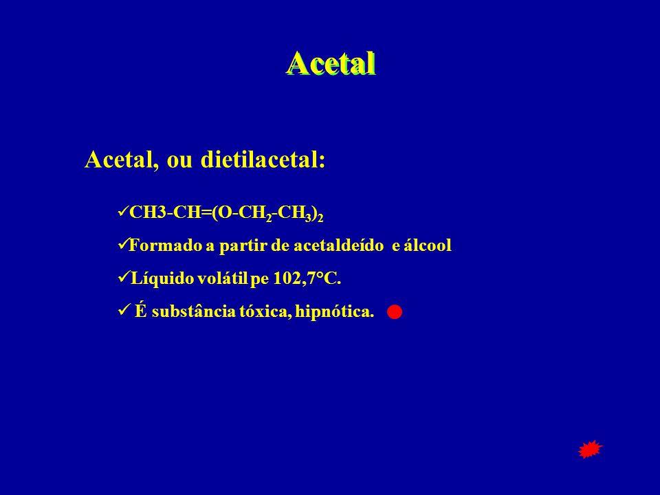 Acetal Acetal, ou dietilacetal:  CH3-CH=(O-CH 2 -CH 3 ) 2  Formado a partir de acetaldeído e álcool  Líquido volátil pe 102,7°C.  É substância tóx