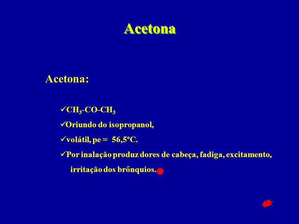 Acetona Acetona:  CH 3 -CO-CH 3  Oriundo do isopropanol,  volátil, pe = 56,5ºC.  Por inalação produz dores de cabeça, fadiga, excitamento, irritaç