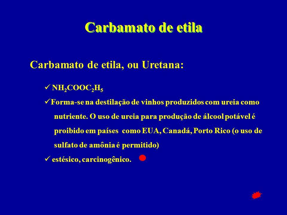 Carbamato de etila Carbamato de etila, ou Uretana:  NH 2 COOC 2 H 5  Forma-se na destilação de vinhos produzidos com ureia como nutriente. O uso de