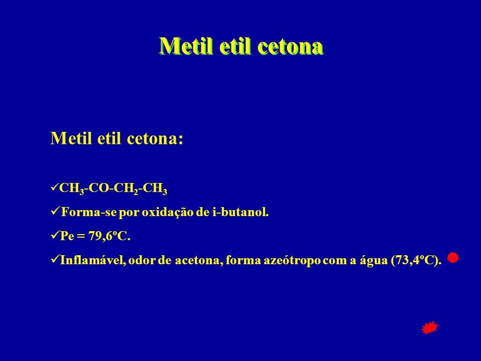 Metil etil cetona Metil etil cetona:  CH 3 -CO-CH 2 -CH 3  Forma-se por oxidação de i-butanol.  Pe = 79,6ºC.  Inflamável, odor de acetona, forma a