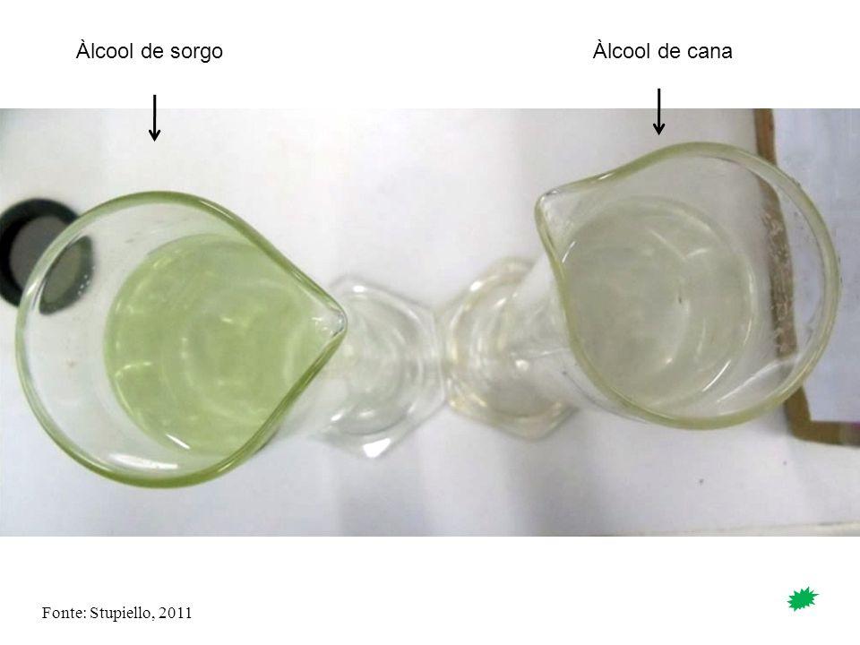 Fonte: Stupiello, 2011 Àlcool de sorgoÀlcool de cana
