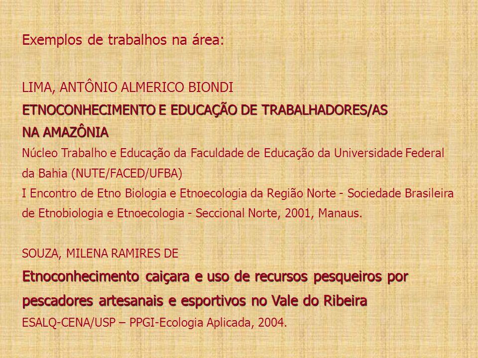 ETNOCONHECIMENTO E EDUCAÇÃO DE TRABALHADORES/AS NA AMAZÔNIA Etnoconhecimento caiçara e uso de recursos pesqueiros por pescadores artesanais e esportivos no Vale do Ribeira Exemplos de trabalhos na área: LIMA, ANTÔNIO ALMERICO BIONDI ETNOCONHECIMENTO E EDUCAÇÃO DE TRABALHADORES/AS NA AMAZÔNIA Núcleo Trabalho e Educação da Faculdade de Educação da Universidade Federal da Bahia (NUTE/FACED/UFBA) I Encontro de Etno Biologia e Etnoecologia da Região Norte - Sociedade Brasileira de Etnobiologia e Etnoecologia - Seccional Norte, 2001, Manaus.