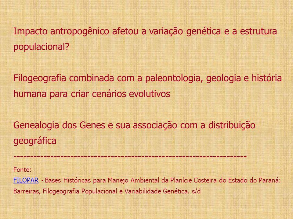 Impacto antropogênico afetou a variação genética e a estrutura populacional? Filogeografia combinada com a paleontologia, geologia e história humana p